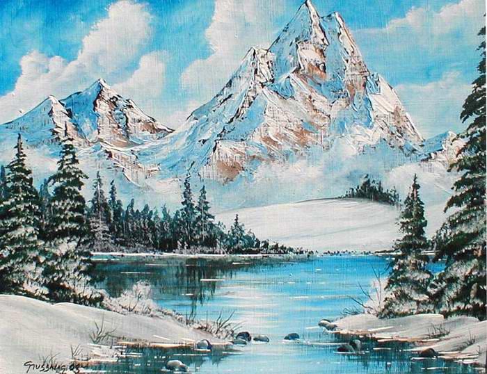 winterlandschaft gemalt weihnachten 2017